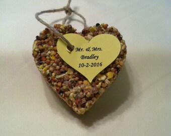 Personalized heart birdseed wedding favors