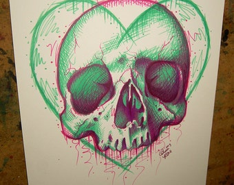 ORIGINAL Drawing - Neon Death III - Original Sharpie Marker Pop Art Skull and Heart Illustration - Colorful Electric Green and Pink