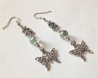 Silver Butterfly Light Green Colored Glass Dangle Earrings, Dangle earrings,Butterfly Earrings,Gift ideas,For Her,Fashion jewelry, Butterfly