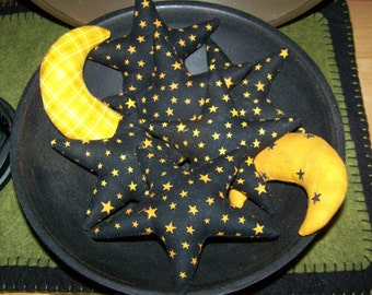 Primitive Halloween Stars and Moons Stars Ornies Bowl Fillers 8pc set