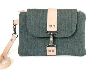 Cell Phone Wristlet Wallet - Zippered Pouch with Denim and Peach Leather