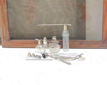 Mid Century Medical Bottles, Vintage Glass Nasal Bottles, Glass Aspirator Bottles