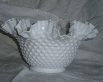 Vintage Hobnail Milk Glass Ruffled Dish