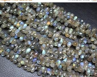 VALENTINE SALE 55% Blue Fire Labradorite Faceted Tear Drop Briolette Beads Strand, 4 inches, 8-8.5mm, SKU1155A
