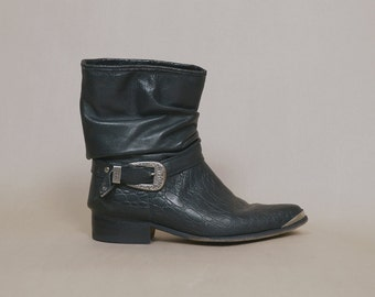 RESERVED Harness Boots Black Leather 80s Ankle Booties Buckle Motorcycle Slouch Western Cowboy Rock N Roll 1980s Biker Short / Men's 9.5 Wom