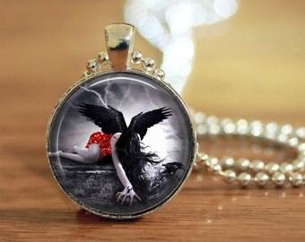 Dark Angel Pendant, Dark Angel Jewelry, Dark Angel Necklace, Dark Angel Womens Necklace, Dark Angel Custom Photo Pendant