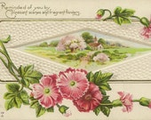 Vintage E Nash Postcard Pink Carnations Country Church and Friendship Verse 1900s