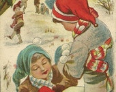 RESERVED LISTING (SABINE) Fun Christmas Scene The Snowball Fight Vintage Christmas Postcard - Winter Fun