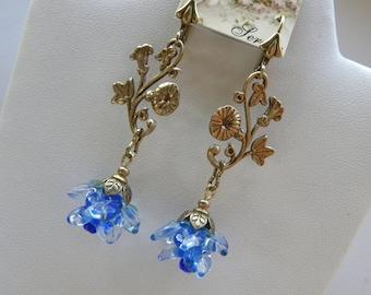 Morning Glory Earrings© 2016, Art Nouveau Earrings, Blue Flowers, Lamp Work Glass Earrings. ©2016 DonnaJameson