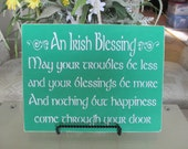 St. Patrick's Day Irish Blessings Wooden Sign . . . Sign - Wooden Sign - Wooden St Patrick's Day Sign