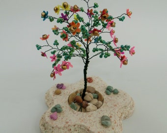 wire tree sculpture ,beaded tree, bonsai tree, tree of life , feng shui tree ,colorful  flowers