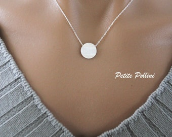 Round Disc Necklace in Matte Silver. Simple Necklace. Collarbone Necklace. Layering Necklace. Timeless. Gift For Her. (PNL- 44S)