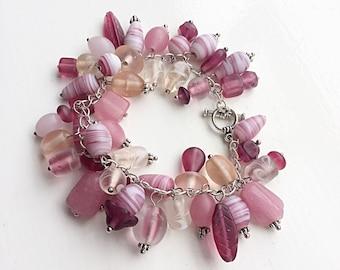 Pink Glass Beaded Bracelet