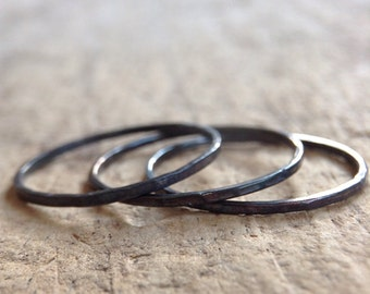 Black Ring Trio, 3 Skinny Rings, Ring Set, Thin Rings, Three Rings, Sterling Silver Ring, Stacking Ring, Gift For Her, Bohemian Ring