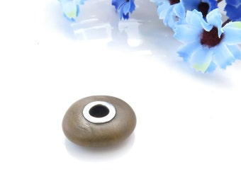 Sterling Silver Riveted Brown Beach Stone, Rare Jewelry Supplies, Handmade Unique Bead,Pebble Rivet, lined bead