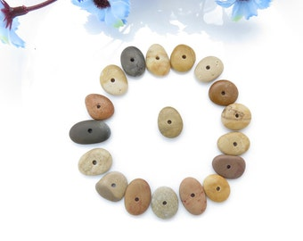 Jewelry Supplies, Center Drilled Beach Stones Oval Shaped- Special Medium Pebbles Rare Colors