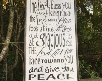 The Lord bless you and keep you, Baptism gift, Prayer sign, Confirmation gift