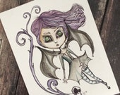 Halloween spooky Bat Girl Illustration cute creepy 6x8 marker and watercolor sketch LuLusApple