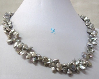 """Pearl Necklace - 18"""" 6-7 inches Silver Gray Keshi 2Row Freshwater Pearl Necklace  - Free shipping"""