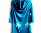 Teal Queen Anne's Lace Hand Printed Draped Cowl Tunic