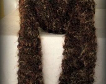 Scarf - brown scarf - hand knit scarf - knit scarf - brown knit scarf - wool knit scarf - soft knit scarf - fashion knit scarf - fashion