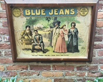 Antique Framed Poster from The 1917 Silent Film Blue Jeans