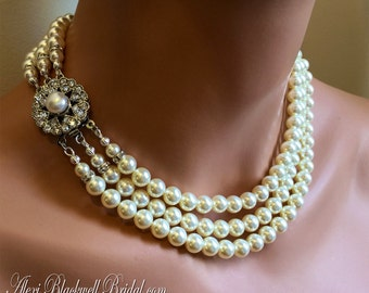 Jackie O Pearl Necklace vintage style 3 strand Swarovski pearls in white or Ivory wedding jewelry or Mother of the Bride bridesmaid gift