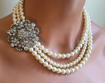 Pearl Necklace with Brooch Rhinestone Broach 3 multi strands of Swarovski pearls choice of color Earrings included wedding jewelry set sets