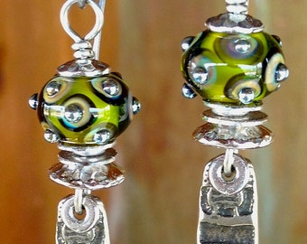 Artisan earring #32....Green glass..Long Asian charm