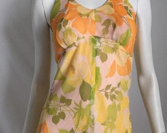 70's Spring Summer Resort  Peach  Chiffon Floral  Overlay Halter Maxi