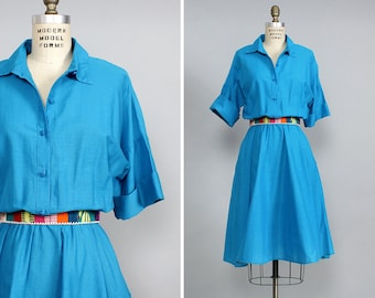 Turquoise Dress S/M • 80s Dress • Shirtwaist Dress • Long Sleeve Dress • Cotton Summer Dress • Flared Dress • Cotton Midi Dress| D840