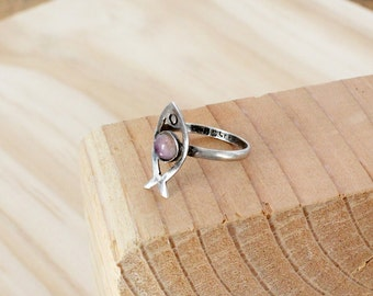 Silver Fish Ring • 925 Sterling Silver Ring • Amethyst Ring Silver • Novelty Ring • Purple Stone Ring • 925 Ring • Hippie Ring   R185