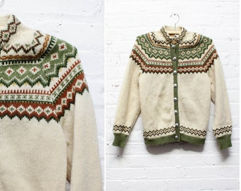 Norwegian Fair Isle Cardigan S/M • Wool Nordic Folk Sweater | T300