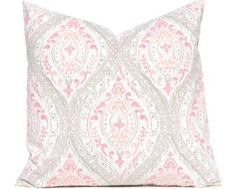 Euro Sham - Coral  Pillow Cover - Coral and Tan Damask - Decorative Pillow Cover - Coral Euro Sham - Coral Cushion Cover - Throw Pillow