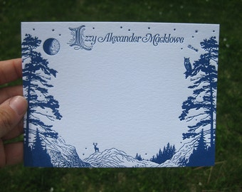 Midnight Mountains Rustic Letterpress Personal Stationery