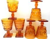 Vintage Amber Glass Drinking Glasses