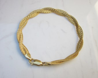 Estate 14K Solid Yellow Gold Twisted Herringbone Chain 7 inch Bracelet