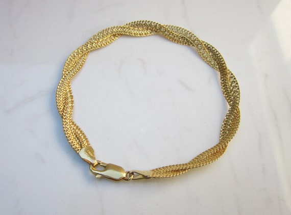 estate 14k solid yellow gold twisted herringbone chain 7 inch