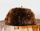 Classic Vintage Real Brown Fur Muff and Clutch Purse