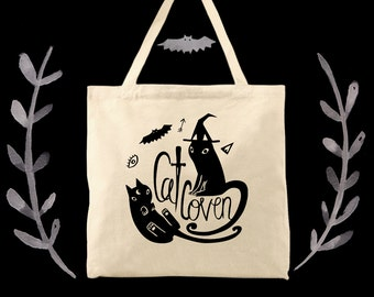 cat coven cat fan witchy lady tote bag