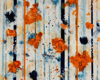 Encaustic Painting Blue Orange Painting Abstract Beeswax Painting Away We Go  Swalla Studio 16x16