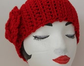 "Knitted ""Red"" Head Band,  Ear Warmer,*** FREE SHIPPING (USA address only)***"