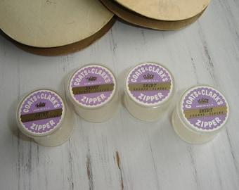 Vintage Coats and Clark's Plastic Zipper Containers LOT SET of 4 ~ Purple & Lavender Label ~ Set # 2