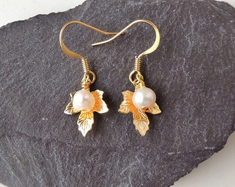 Maple Leaf Charm Earrings with Freshwater Pearls, Maple Leaf Jewelry, Gold Plated, Pearl Jewellery, Charm Earrings, UK, 419