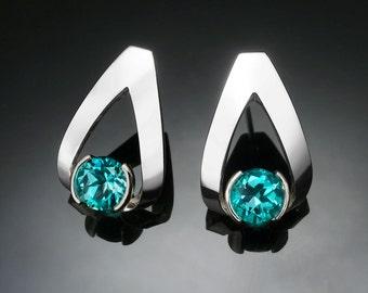 turquoise blue topaz earrings, blue topaz earrings, Argentium silver earrings, silver earrings, December birthstone, dangle earrings - 2470