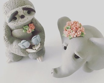 Elephant and sloth Love Wedding Cake Topper handmade