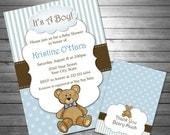 SALE Boy Teddy Bear Baby Shower Invitation, Teddy Bear Thank You Card INCLUDED, Printable File, Blue, Teddy Bear, Stripes, Baby Boy, Blue &