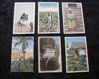 Black Americana Lot of 6 Orig. VINTAGE Postcards  Alligator BLACK JOE Cotton Moses