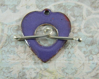 Purple Heart Toggle Clasp with Argentium Sterling Silver Wire Toggle Bar