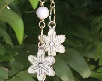 White Dangle Earrings ~ Fun Earrings ~ White Flower Earrings ~ Long Dangle Earrings ~ Drop Earrings ~ Gifts for Her